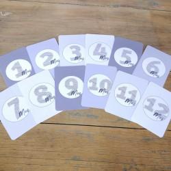 12 Cartes Étapes Bébé - Grises